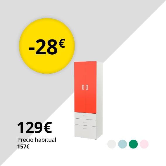 STUVA / FRITIDS Armario, blanco, rojo, 60x50x192 cm
