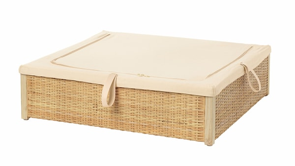 IKEA Bettkasten mit Rattan und Stoffüberzug