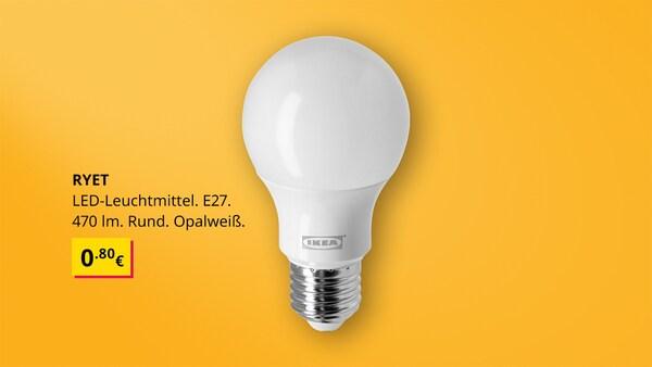 RYET LED Leuchtmittel, E27, 470lm in rund opalweiß auf gelbem Hintergrund