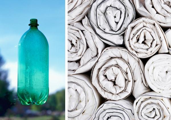 70% du garnissage de la couette IKEA GLANSVIDE est produite à partir de bouteilles plastique PET recyclées. Nous explorons constamment de nouvelles manières d'utiliser des ressources renouvelables ou issues du recyclage comme matières premières, repensons la production d'un produit existant pour le rendre plus responsable et essayons de fabriquer des produits qui peuvent être réutilisés, réparés, réassemblés et recyclés par nos clients.