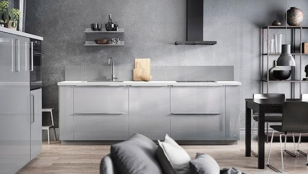 دليل مطبخ Ringhult شكل ساحر رمادي فاتح لامع Ikea