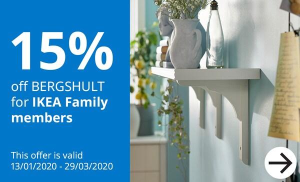15% off BERGSHULT for IKEA Family Members