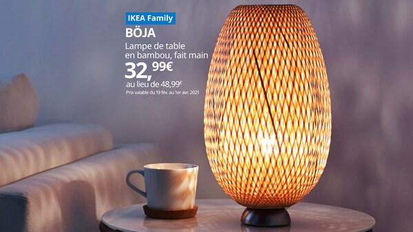 lampe de table en bambou fait main