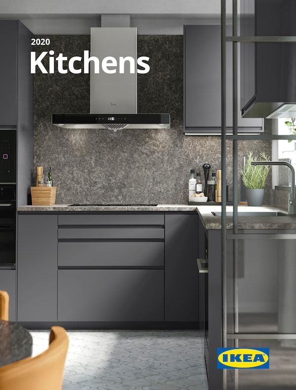 Cover for the 2020 IKEA Kitchen Brochure, showing a colour-coordinated kitchen with storage, cooker, sink and worktops.