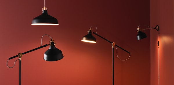 Various black floor, pendant and wall lamps