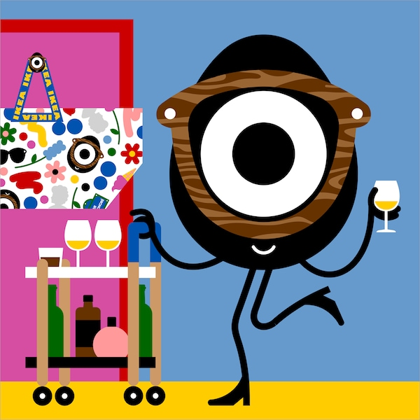 Colorful illustration of Darcel Disappoints standing with a drink at the FÖRNYAD side table.