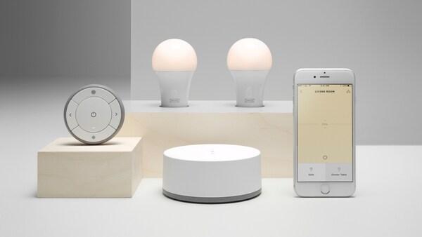 TRÅDFRI smart belysning LED-ljuskällor med gateway, app och fjärrkontroll.