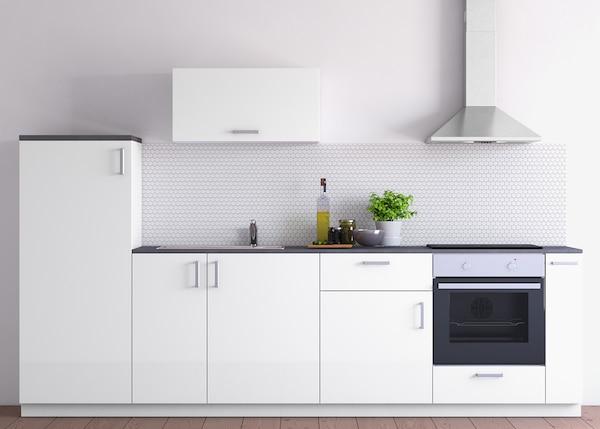 METOD Küchenzeile mit RINGHULT Fronten Hochglanz Weiß - IKEA