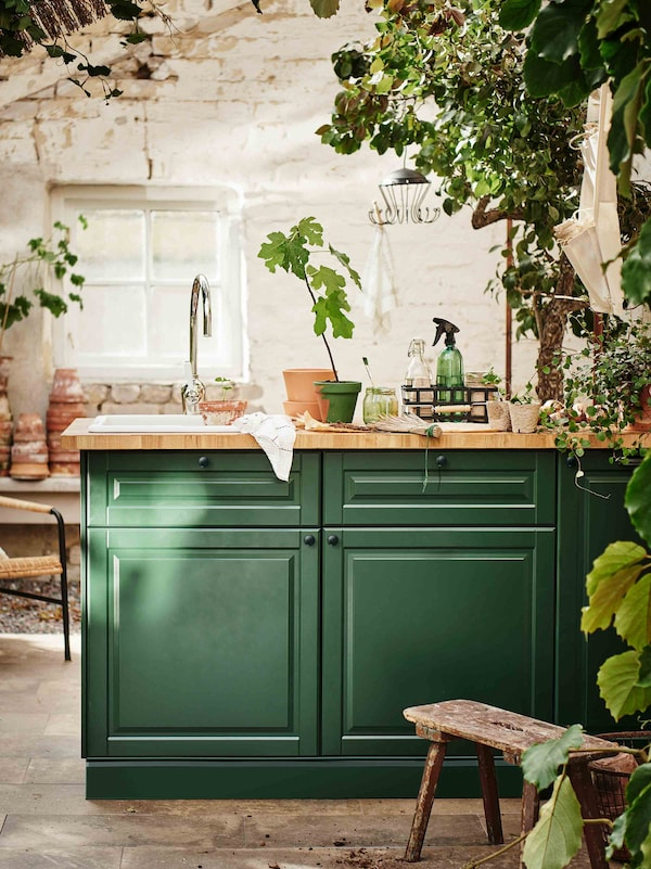 A sunny plant-filled kitchen with striking green door fronts.