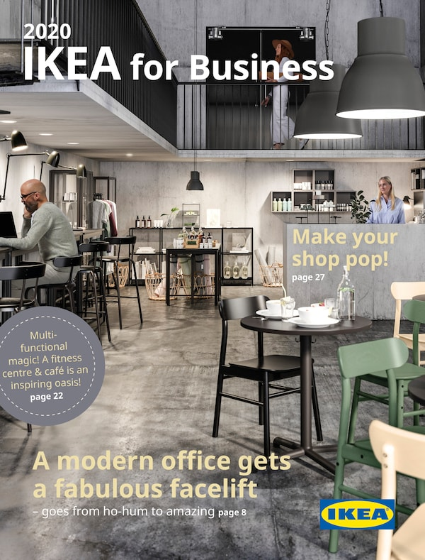 Cover for the 2020 IKEA Shared BUSINESS Brochure, showing a gym centre and a cafe.