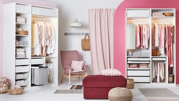Multiple PAX wardrobes spread out across a decorated room
