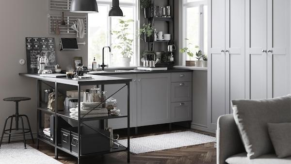 cuisine-IKEA-ENHET-nouveauté-gris-noir-moderne