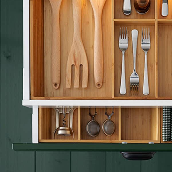 kitchen drawers pulled open
