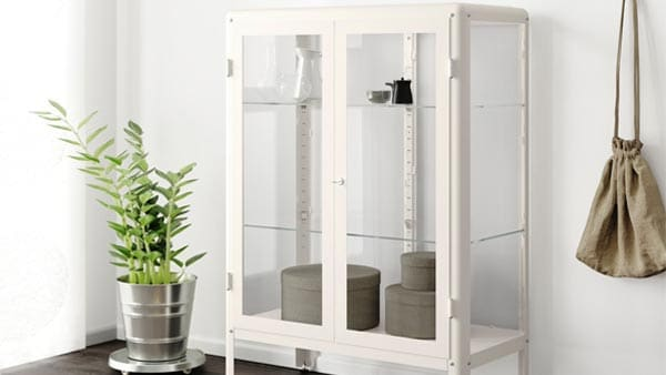 a white FABRIKOR cabinet with glass doors