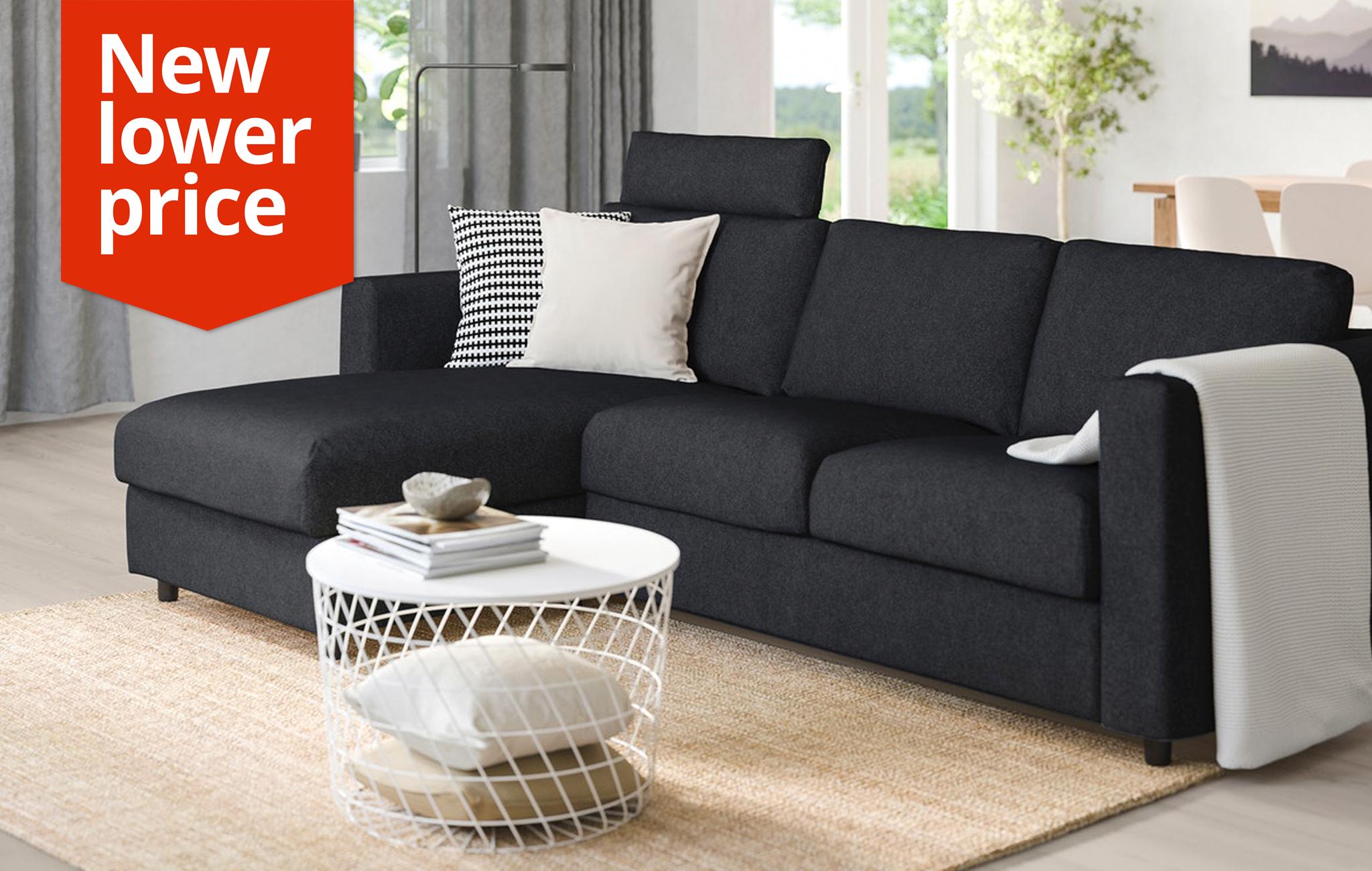 VIMLE 3-seat sofa, with chaise longue with headrest, Tallmyra black/grey