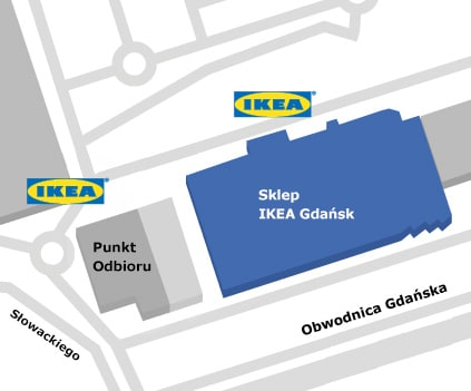Mapa dojazdu do sklepu IKEA Gdańsk