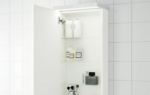 GODMORGON Wall cabinet with 1 door, high-gloss white, 40x14x96 cm