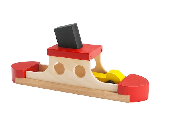 Wooden toy ferry boat.