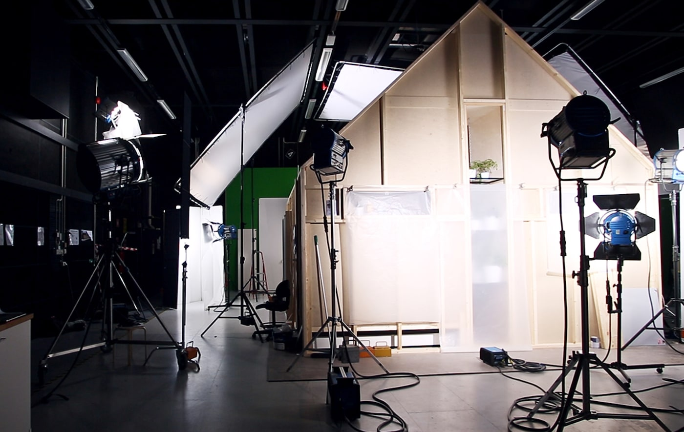 A 30 square metre family home built in the IKEA photo studio, set up and ready to film tips for small space living.