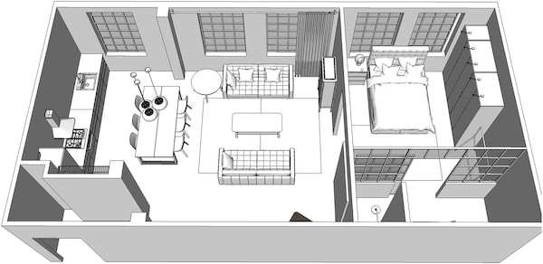 A 3D floorplan of the apartment.