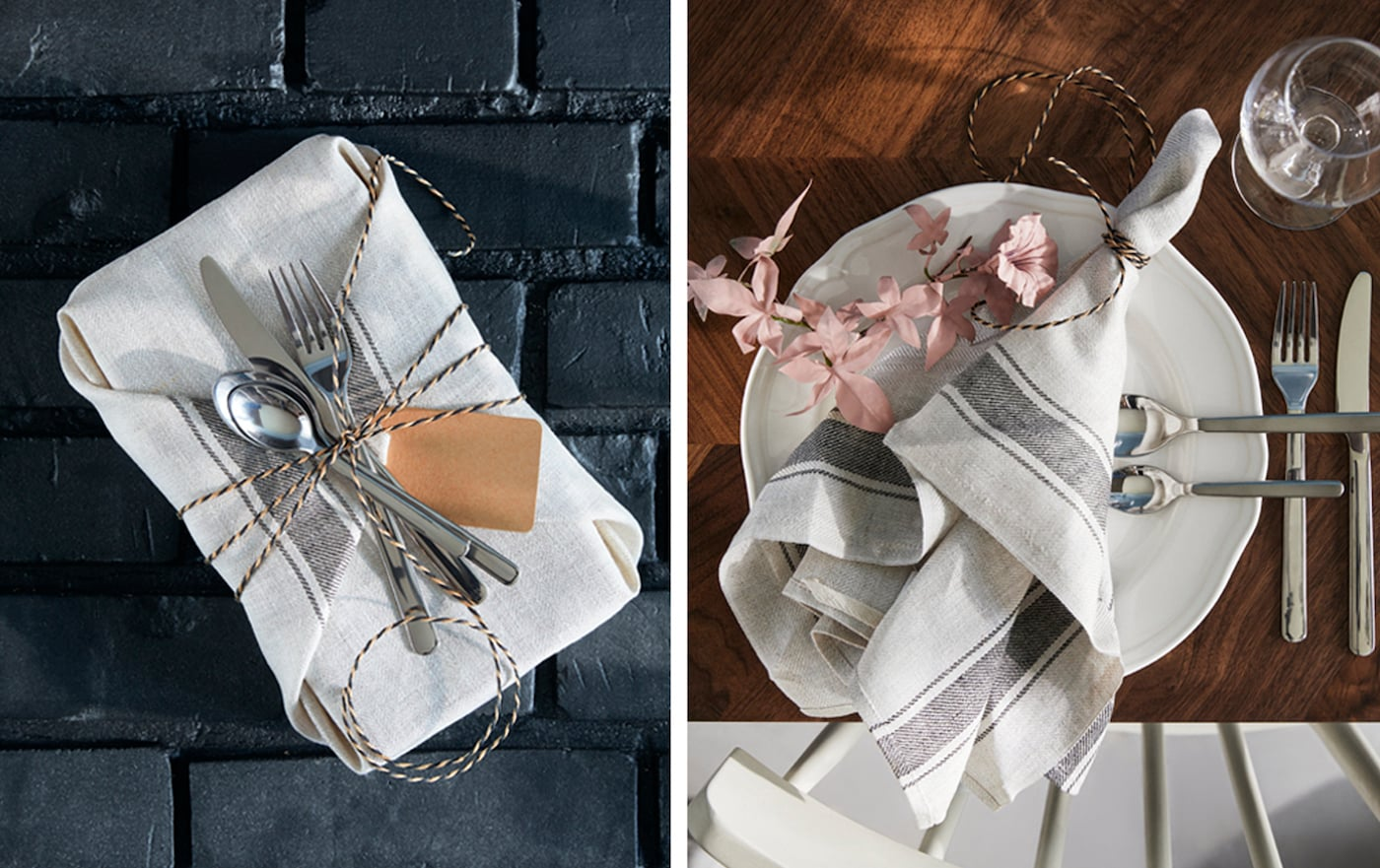 A basket wrapped as a gift in a tea towel beside a tea towel laying decoratively across a plate.