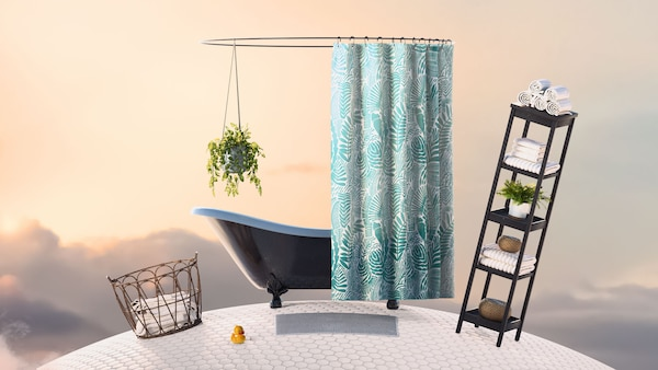 A bathtub with a teal and white shower curtain and a hanging plant, next to a basket of white towels and a narrow black shelving unit, placed on a small planet, floating in a sky at sunset.