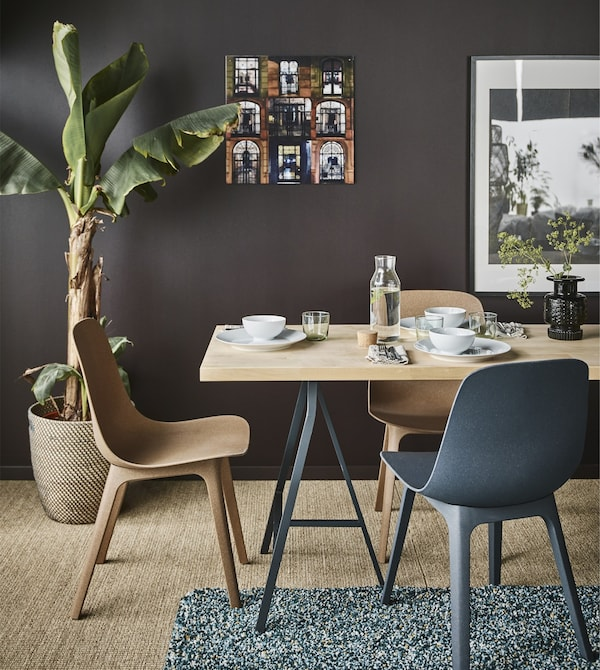 A birch KARLBY worktop with trestles legs and ODGER chairs create a dining area in a living room with dark brown walls.