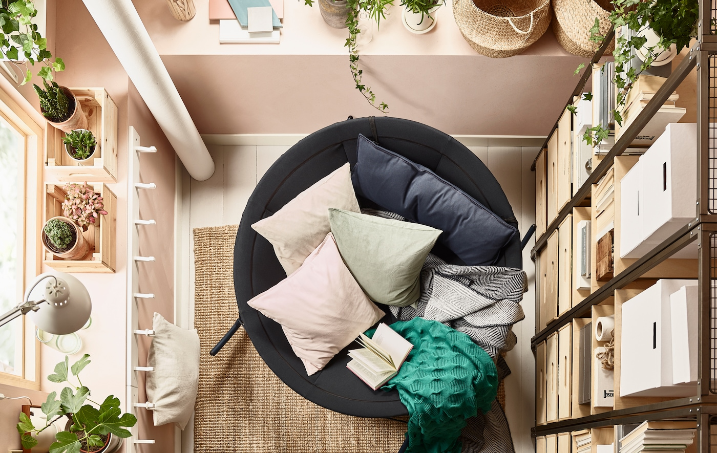 A bird's-eye view of the IKEA PS 2017 rocking chair filled with pillows.