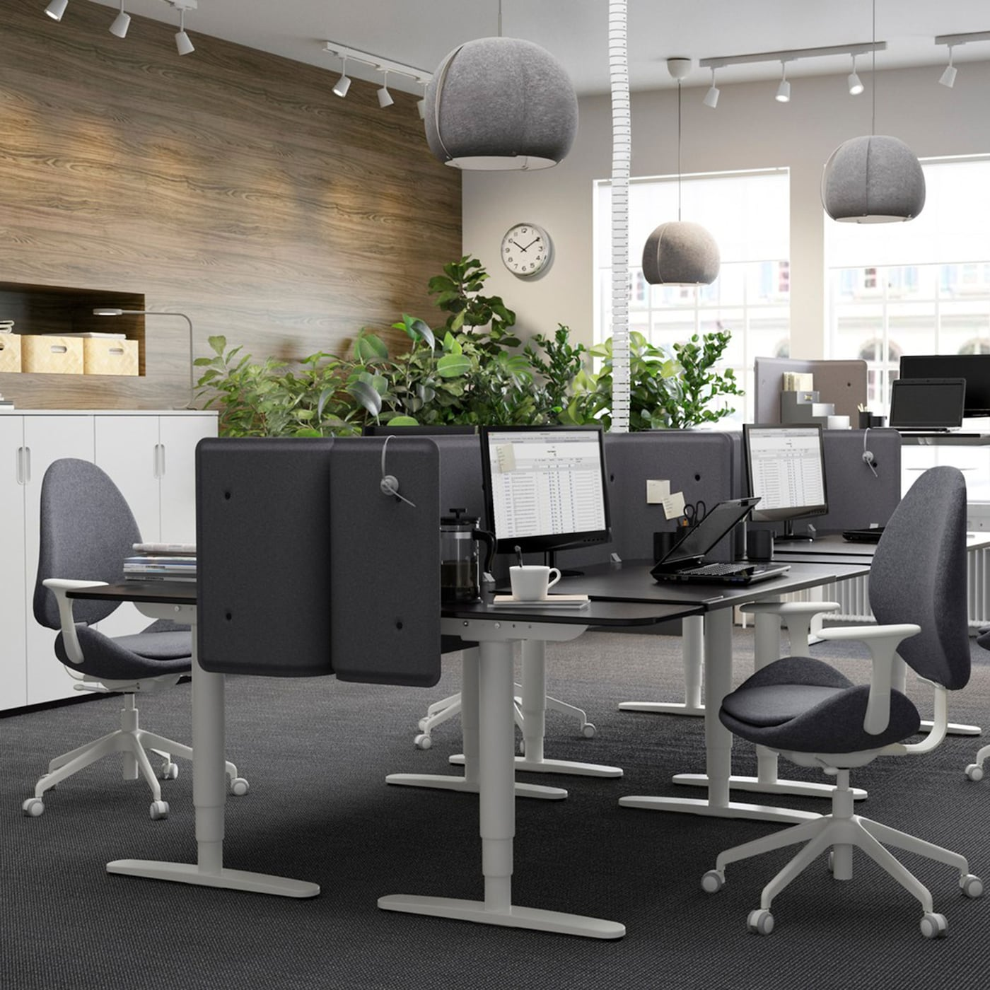 A black and grey office space with black brown BEKANT sit-stand work desks, facing each other to create cubicles.