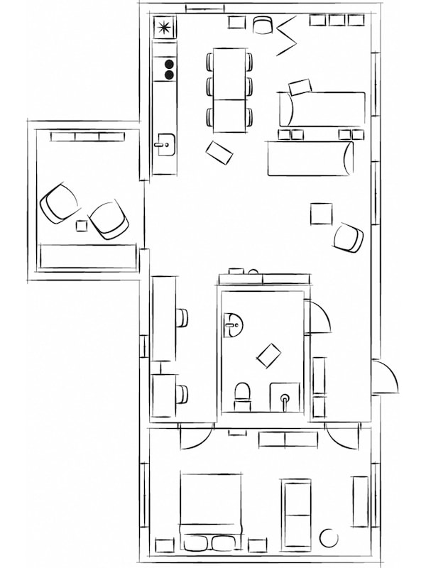 A black-and-white, blueprint-like representation of an apartment.