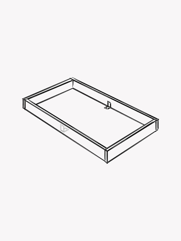 A black and white illustration of a 39 inch x 23 inch wooden frame.