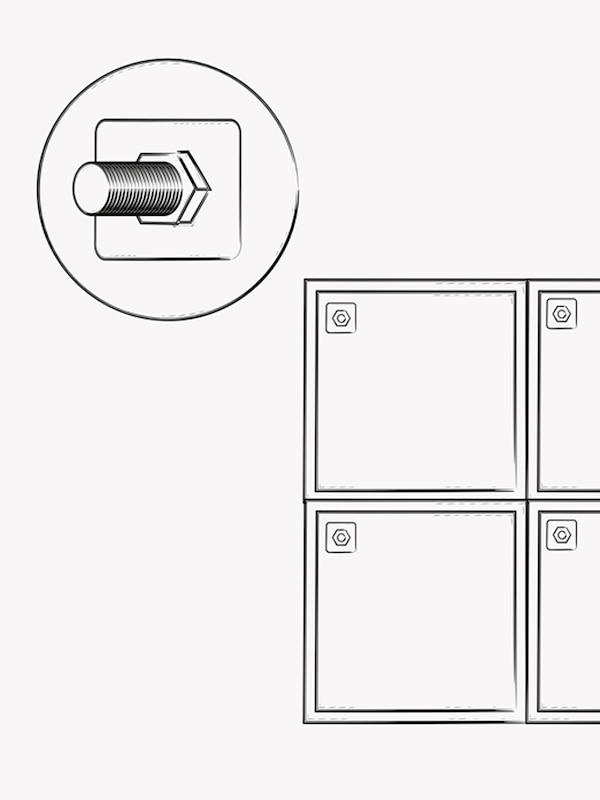 A black and white illustration of a screw and bolt plus a drawing of cabinets stacked on top of each other.