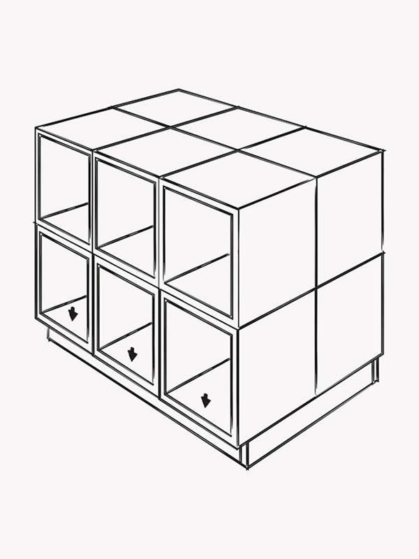 A black and white illustration of cabinets combined together to form a kitchen island on top of a frame.
