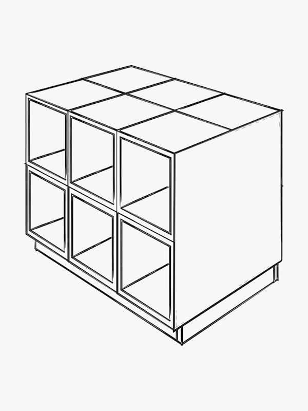 A black and white illustration of cabinets forming an island with an 80 cm x 80 cm cover panel on the side.