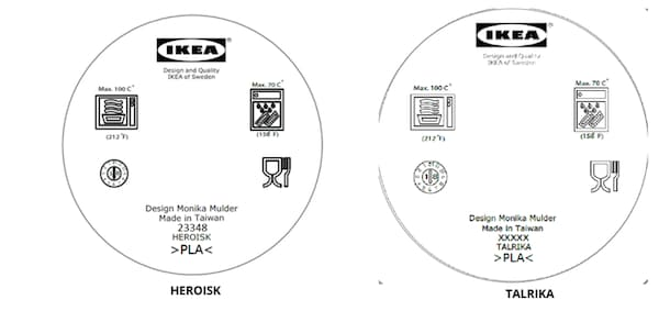 A black and white label for the HEROISK and TALRIKA displaying symbols for Dishwasher safe and cookware safe, among others.
