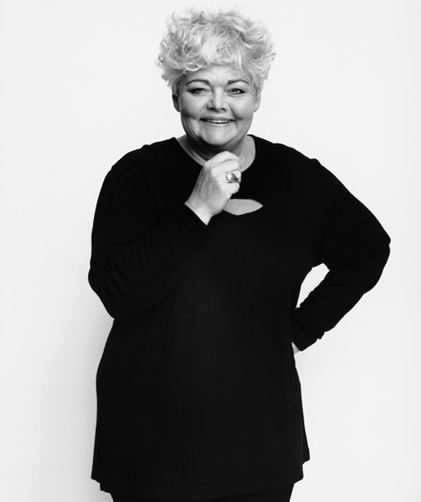 A black and white portrait of Anna Efverlund, designer of classic IKEA toys.