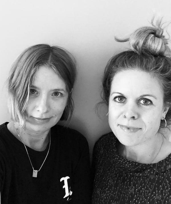 A black and white portrait of interior designers Emma Persson Lagerberg and Emilia Ljungberg.