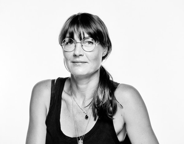 A black and white portrait of Josefine Aberg, the Vice President of Design at Adidas.