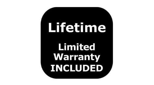 A black box with rounded corners with white text that says Lifetime- Lifetime warranty INCLUDED.