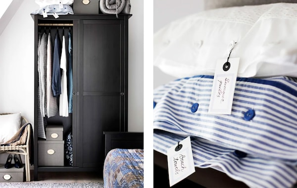 A black rustic style wooden wardrobe in the corner of a bedroom filled with clothes will storage boxes and bedding stacked on top next to an image of a close-up of some white and blue and white stripped pillow cases