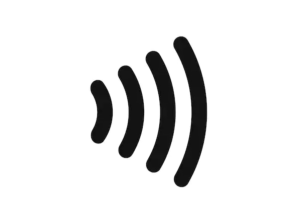 A black soundwave on a white background.