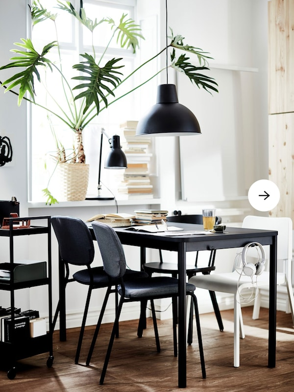 A black TOMMARYD table with four different chairs in white, gray and black, black lamps, and a large plant on the windowsill.