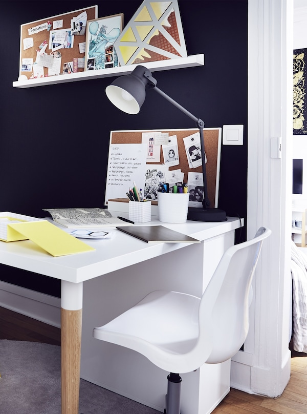 A bold black-and-white home office nook.