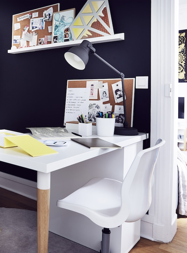 A bold black-and-white office nook.