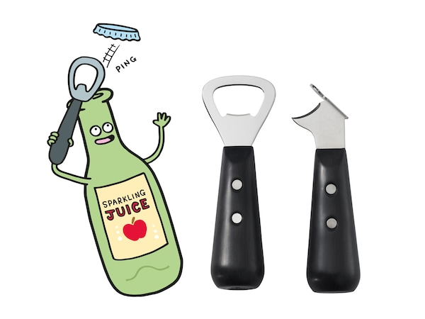 A bottle removing its own cap with a VARDAGEN bottle opener.