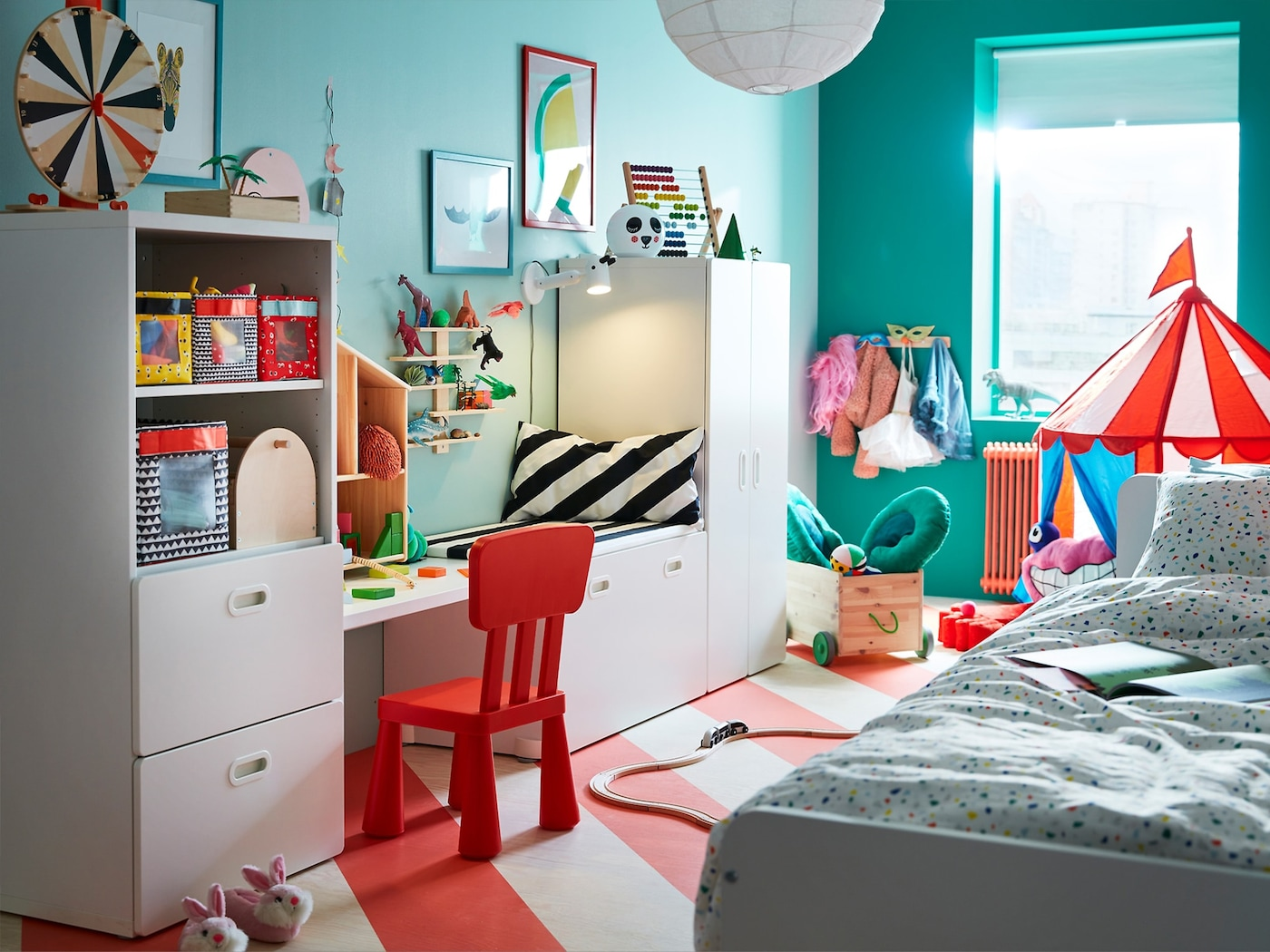 A bright carnival themed room for a child to explore their imagination