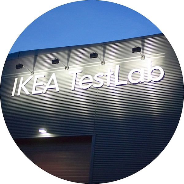 A circular image of a building with the words IKEA TestLab.
