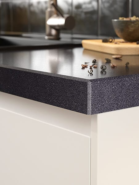 A close up of a countertop edge profile