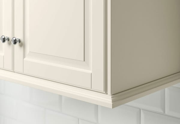 A close up of a kitchen cabinet with IKEA BODBYN off-white doors.