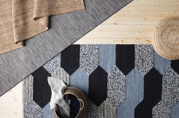 A close up of a patterned KOLLUND rug.